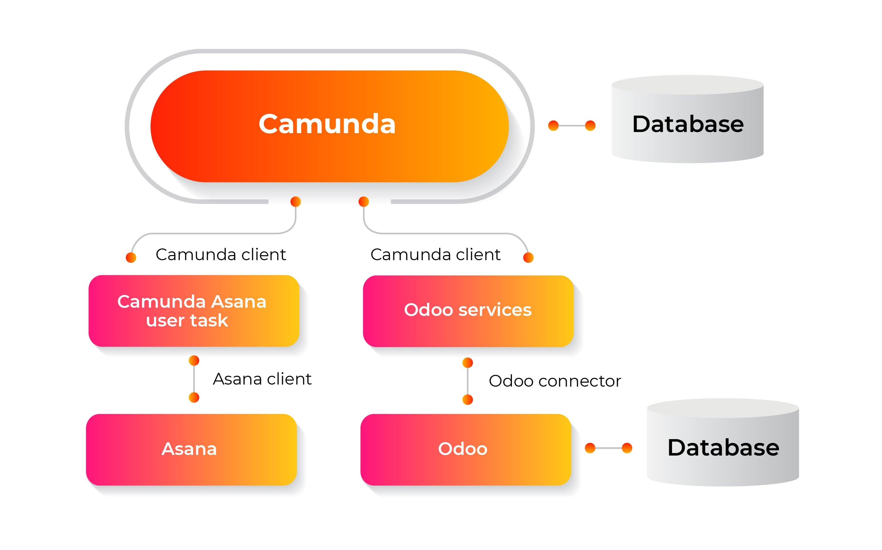 scheme of camunda-odoo-asana connection