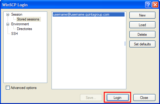 WinSCP Save Login